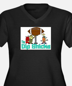 Dip Shicks Women's Plus Size V-Neck Dark T-Shirt
