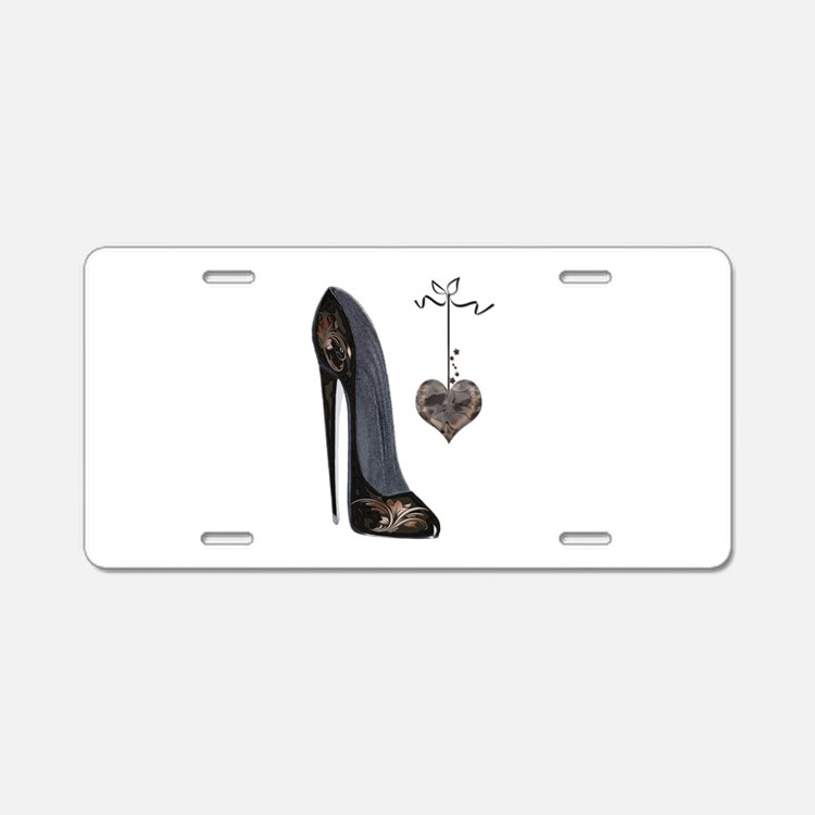 Stiletto and Heart Aluminum License Plate