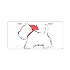 Cute Westie Dog Art Aluminum License Plate