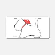 Cute Westie Dog Art Aluminum License Plate