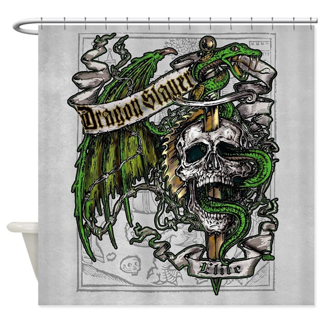Dragon Slayer Crest Shower Curtain By Themonsterstore