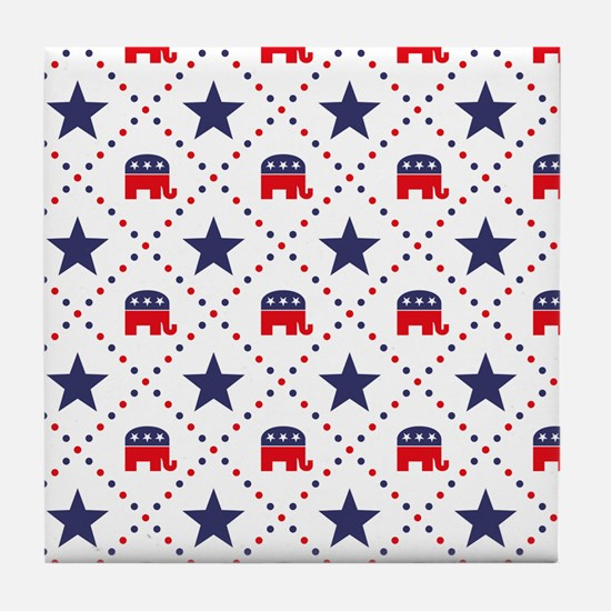 Republican Diamond Pattern Tile Coaster