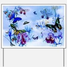 Take Flight B'fly Orchids Bugs Yard Sign