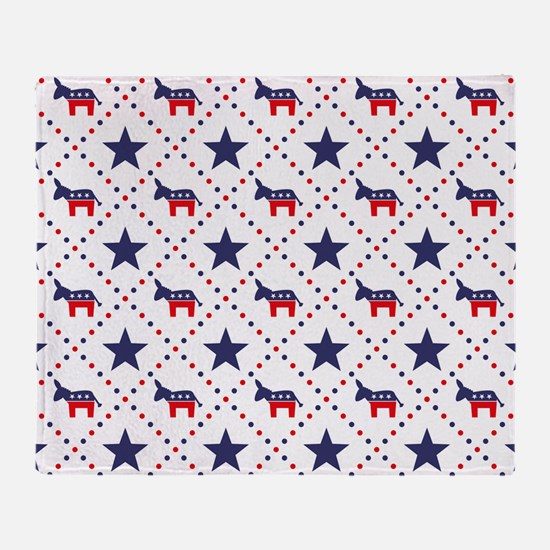 Democrat Diamond Pattern Throw Blanket