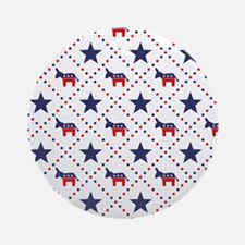 Democrat Diamond Pattern Ornament (Round)