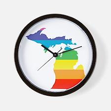 michigan rainbow Wall Clock