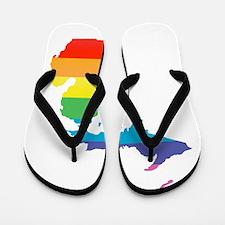 michigan rainbow Flip Flops