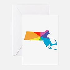 massachusetts rainbow Greeting Cards