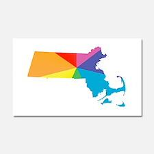 massachusetts rainbow Car Magnet 20 x 12