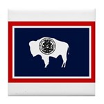 Wyoming State Flag on Tile Coaster