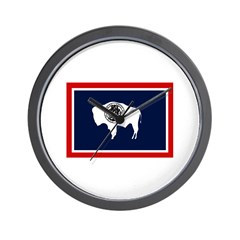 Wyoming State Flag on Wall Clock
