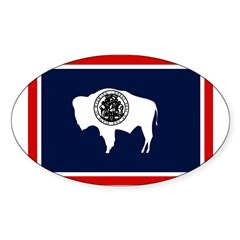Wyoming State Flag on Oval Decal