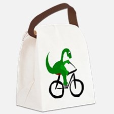 Dinosaur Riding Bicycle Canvas Lunch Bag