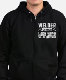 Caution Welder Zip Hoodie (dark)