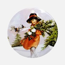Girl in Winter Snow Round Ornament