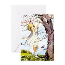 Girl Flowering Cherry Tree Art Greeting Card