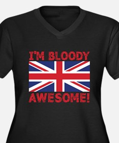 I'm Bloody Awesome! Union Jack Flag Plus Size T-Sh
