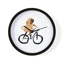 Pug Dog Riding Bicycle Wall Clock