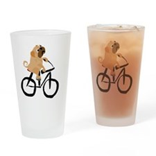 Pug Dog Riding Bicycle Drinking Glass