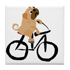 Pug Dog Riding Bicycle Tile Coaster