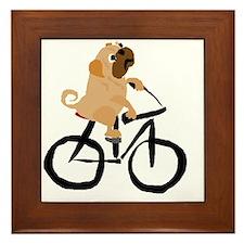 Pug Dog Riding Bicycle Framed Tile