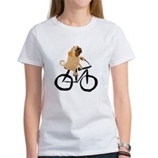 Pug Dog Riding Bicycle T-Shirt