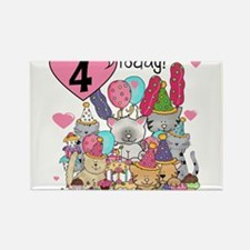 Cute Happy 4th birthday Rectangle Magnet