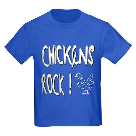 Chickens Rock ! Kids Dark T-Shirt