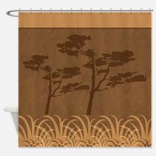 Safari Acacia Tree Silhouettes Shower Curtain