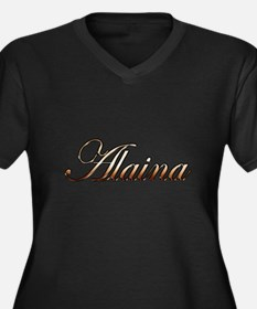 Gold Alaina Women's Plus Size V-Neck Dark T-Shirt