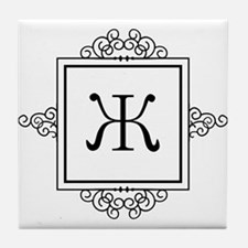 Russian Zheh letter Zh Monogram Tile Coaster