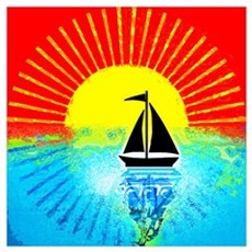 sky on fire sailboat Poster