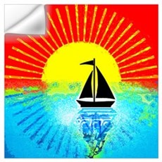sky on fire sailboat Wall Decal