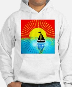 sky on fire sailboat Hoodie