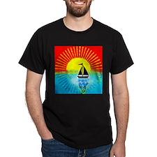 sky on fire sailboa T-Shirt