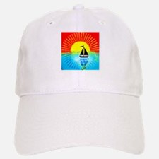 sky on fire sailboat Baseball Baseball Cap