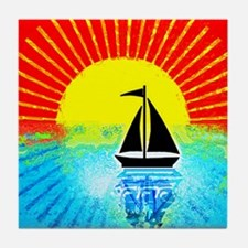 sky on fire sailboat Tile Coaster