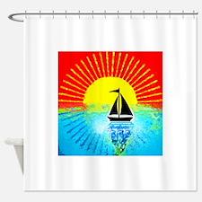 sky on fire sailboat Shower Curtain