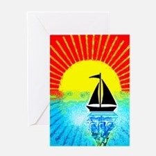 sky on fire sailboat Greeting Cards