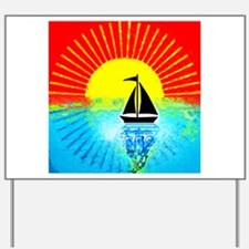 sky on fire sailboat Yard Sign