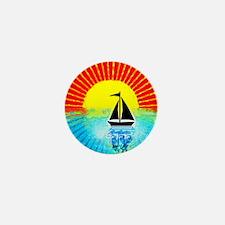 sky on fire sailboat Mini Button