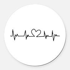 Heart Beat Round Car Magnet