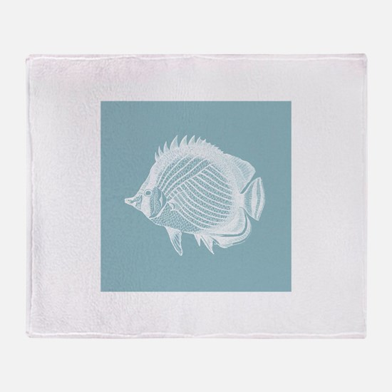 Pastel Blue Exotic Fish Throw Blanket