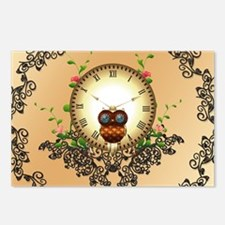 Steampunk, cute owl Postcards (Package of 8)