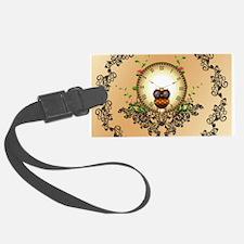 Steampunk, cute owl Luggage Tag