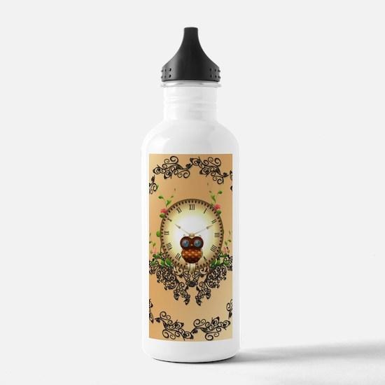 Steampunk, cute owl Water Bottle