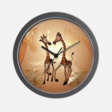 Funny cartoon giraffe Wall Clock