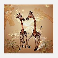 Funny cartoon giraffe Tile Coaster
