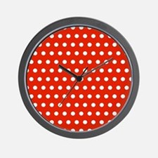 Red and White Polka Dots Wall Clock