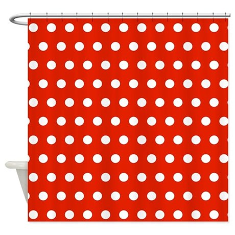 Red And White Polka Dots Shower Curtain